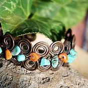 Украшения handmade. Livemaster - original item Copper bracelet with howlite and coral.. Handmade.