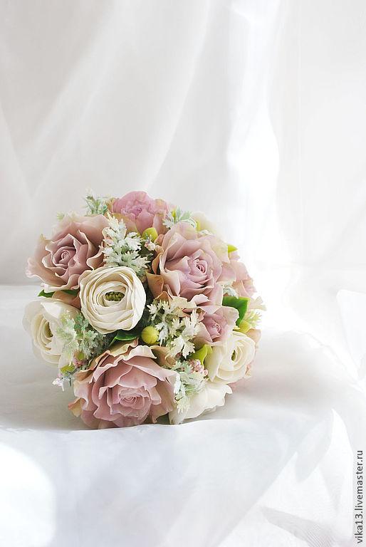 """Букеты ручной работы. Ярмарка Мастеров - ручная работа. Купить Букет """"Розы с ранункулюсами"""". Handmade. Бледно-розовый"""