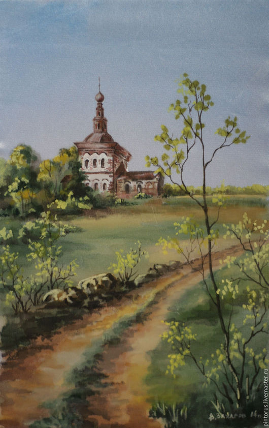 Храмы, церковь, картина на шёлке, пейзаж природа, лето. Автор Вячеслав Захаров.