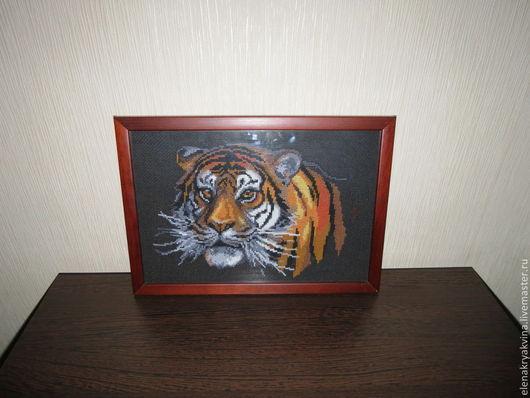 Животные ручной работы. Ярмарка Мастеров - ручная работа. Купить Тигр. Handmade. Тигр, Вышивка крестом, ручная вышивка
