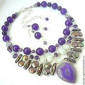 handmade. Livemaster - original item Graceful NECKLACE EARRINGS - amethyst, pearl, moonstone, agate beads.. Handmade.