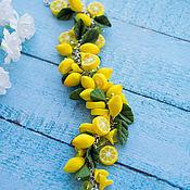 Браслет из бусин ручной работы. Ярмарка Мастеров - ручная работа Браслет с лимонами 2. Handmade.