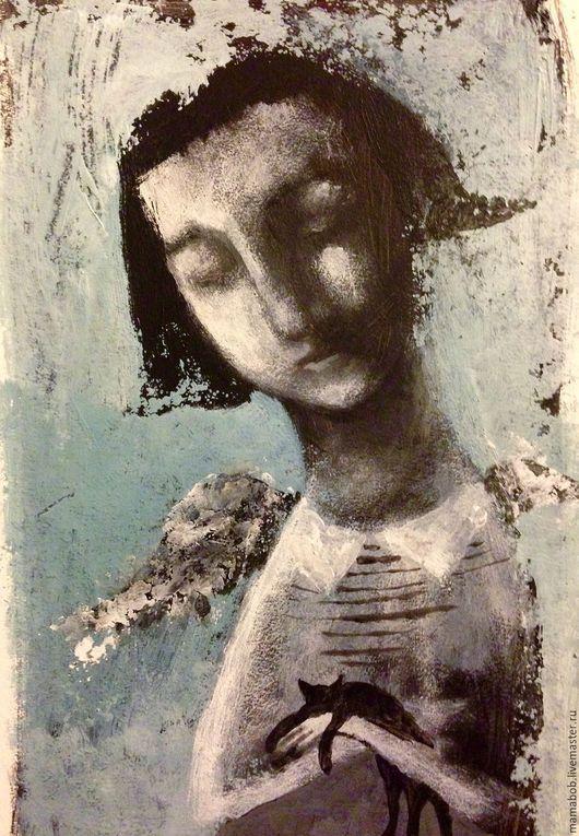 Люди, ручной работы. Ярмарка Мастеров - ручная работа. Купить Ангел для Алисы. Handmade. Картина, акрил, наив, подарок, ангел