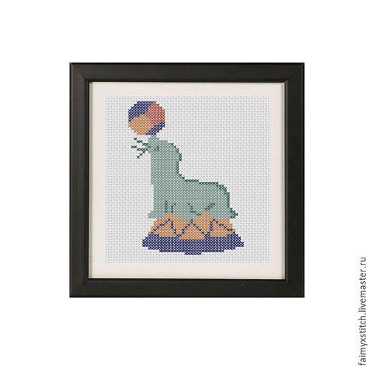 """Вышивка ручной работы. Ярмарка Мастеров - ручная работа. Купить Схема для вышивки крестом """"Тюлень в цирке"""". Handmade. Серый"""