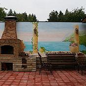 Дизайн и реклама ручной работы. Ярмарка Мастеров - ручная работа Роспись стены в саду. Handmade.