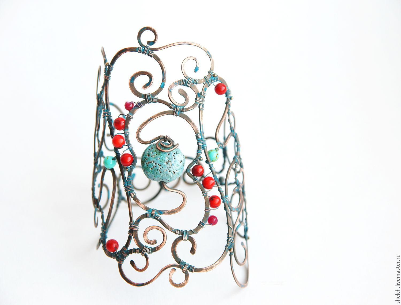 браслет широкий Медное Лето - авторский браслет, медь, wire wrap, Браслеты, Москва, Фото №1