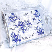 Для дома и интерьера handmade. Livemaster - original item Tray Blue Roses. Handmade.