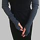 Митенки-рукава длинные вязаные,купить.Митенки длинные.Цвет темно-серый (графит)