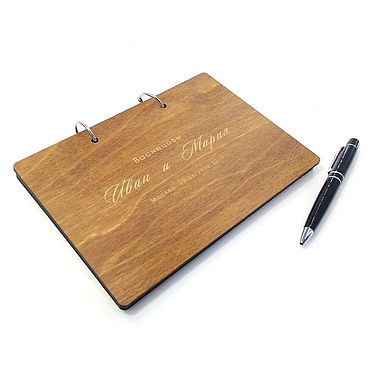 Свадебный салон ручной работы. Ярмарка Мастеров - ручная работа Книга пожеланий в деревянной обложке. Handmade.
