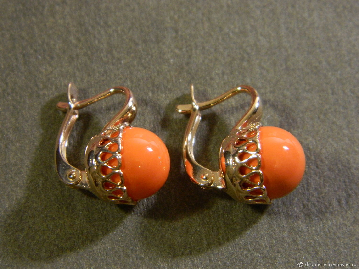 Coral gold plated earrings, Earrings, Saratov,  Фото №1