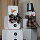 """Новый год 2018 ручной работы. Ярмарка Мастеров - ручная работа. Купить Новогодняя пирамидка """"Снеговик"""". Handmade. Зима, деревянная игрушка"""