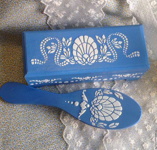 """Шкатулки ручной работы. Ярмарка Мастеров - ручная работа. Купить Комплект """" Голубой зефир"""". Handmade. Голубой, деревянная заготовка"""