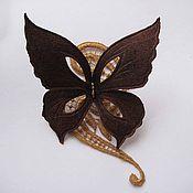 Украшения handmade. Livemaster - original item Leather flowers. Brooch pin BUTTERFLY. VINTAGE.Natural suede.. Handmade.