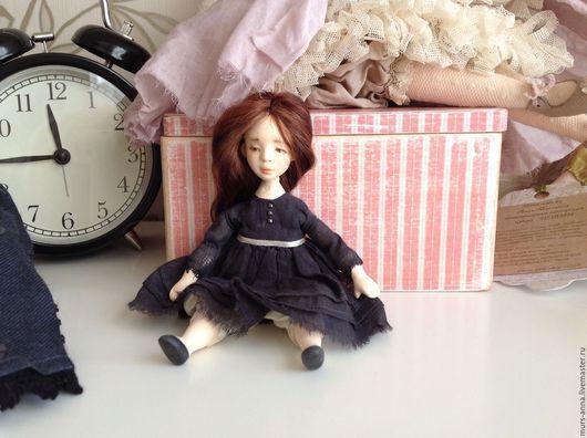 Коллекционные куклы ручной работы. Ярмарка Мастеров - ручная работа. Купить Авторская интерьерная куколка.. Handmade. Темно-серый, миниатюра