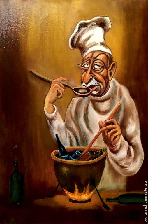 Юмор ручной работы. Ярмарка Мастеров - ручная работа. Купить Картина маслом на холсте Хмурое Утро. Handmade. Коричневый