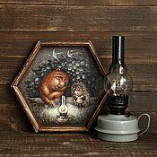 """Для дома и интерьера ручной работы. Ярмарка Мастеров - ручная работа Поднос для чаепития """"Ежик и медвежонок"""". Handmade."""