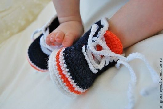 """Для новорожденных, ручной работы. Ярмарка Мастеров - ручная работа. Купить Пинетки """"Кроссовки"""". Handmade. Пинетки, кеды, ботиночки"""