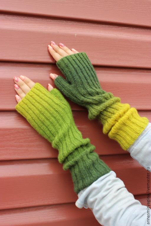 Варежки, митенки, перчатки ручной работы. Ярмарка Мастеров - ручная работа. Купить Митенки Лесные (желтый зеленый). Handmade. Митенки