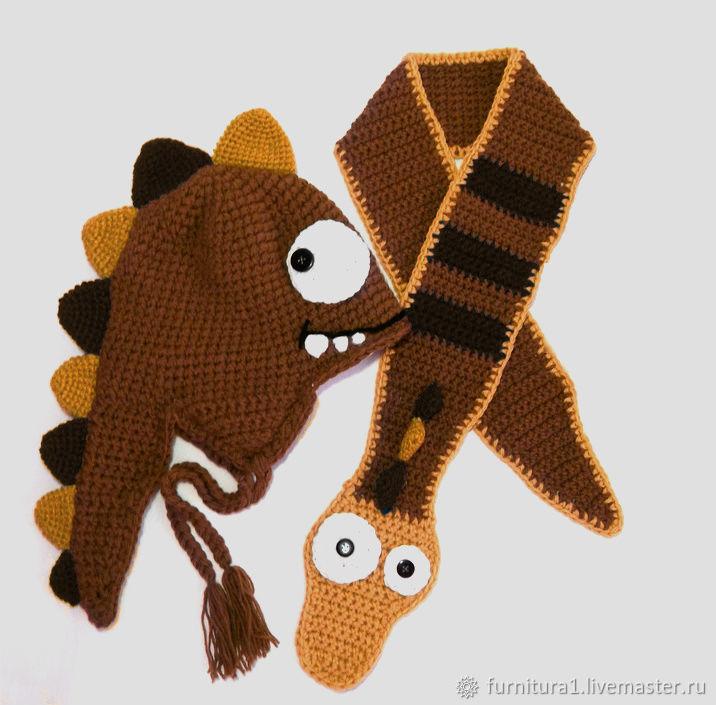 Одежда шапка дракон теплая вязаная зимняя коричневая, Одежда, Москва,  Фото №1