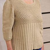 Пуловеры ручной работы. Ярмарка Мастеров - ручная работа Пуловер бежевый женский вязаный. Handmade.