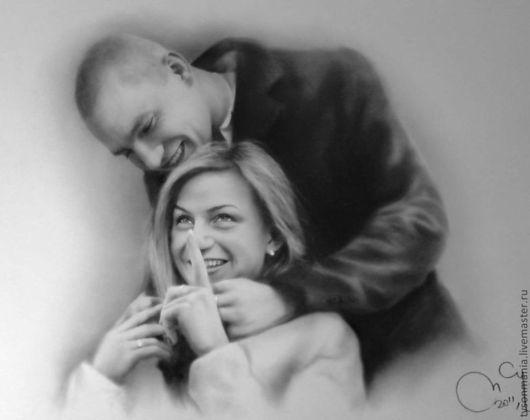 Люди, ручной работы. Ярмарка Мастеров - ручная работа. Купить Портрет на заказ - муж обнимает жену. Handmade. Чёрно-белый