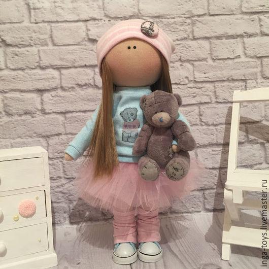 Куклы тыквоголовки ручной работы. Ярмарка Мастеров - ручная работа. Купить Интерьерная куколка с мишкой Тедди (серый). Handmade.