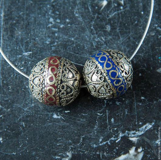 Для украшений ручной работы. Ярмарка Мастеров - ручная работа. Купить Тибетские этнические серебряные бусины с эмалью диаметром 23 мм. Handmade.