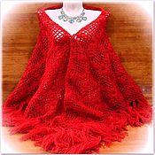 Аксессуары handmade. Livemaster - original item MEDEA 200*100 cm Triangular Crochet Shawl with Tassels #018. Handmade.