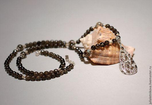 """Колье, бусы ручной работы. Ярмарка Мастеров - ручная работа. Купить Колье """"ВЕЧЕР"""" раухтопаз, серебро 925 пр, длинные бусы, ожерелье. Handmade."""
