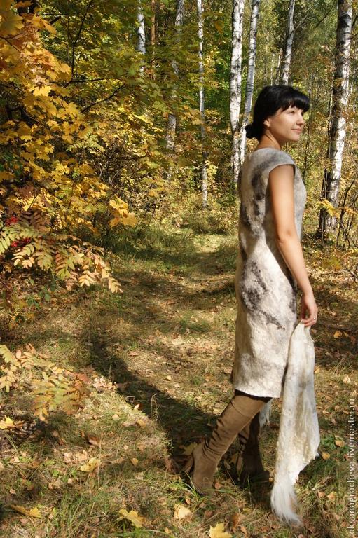 """Платья ручной работы. Ярмарка Мастеров - ручная работа. Купить Авторское войлочное платье """" В осеннем  лесу """". Handmade."""