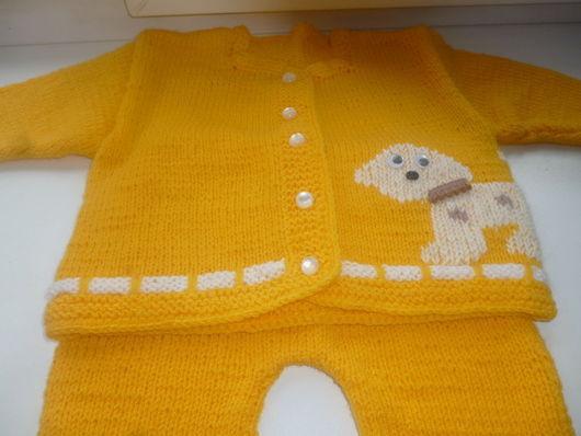 Одежда унисекс ручной работы. Ярмарка Мастеров - ручная работа. Купить Костюм для малыша. Handmade. Желтый, комплект на выписку