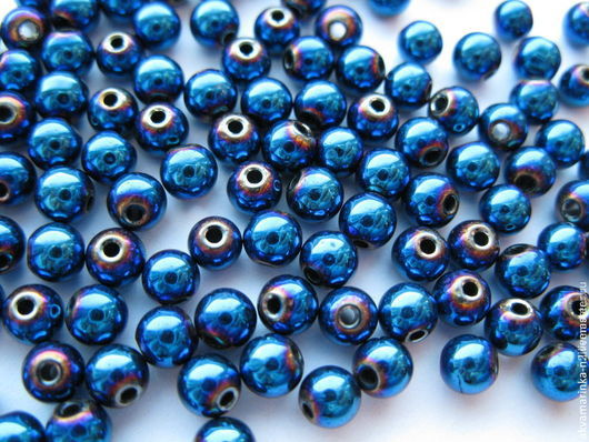 Для украшений ручной работы. Ярмарка Мастеров - ручная работа. Купить Гематит. Бусины 4 мм, синий металлик, по 10 штук.. Handmade.