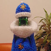 Сувениры и подарки handmade. Livemaster - original item The decor of the BOTTLES knitted new year snow maiden Santa Claus. Handmade.
