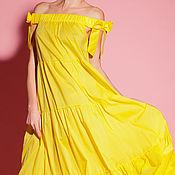 Одежда ручной работы. Ярмарка Мастеров - ручная работа Желтое хлопковое макси бохо летнее длинное платье с открытыми плечами. Handmade.