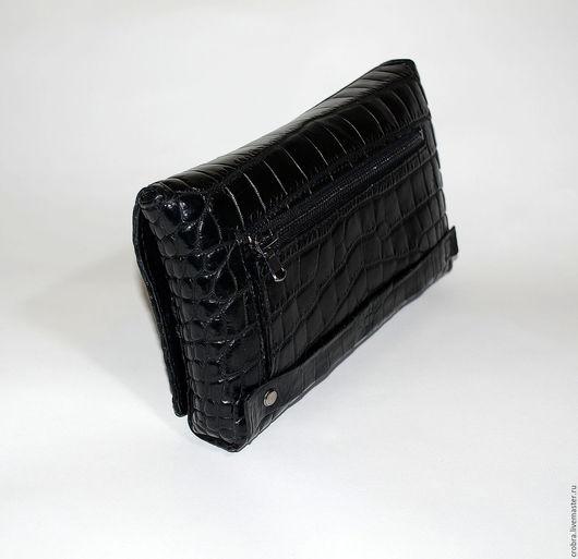 Мужские сумки ручной работы. Ярмарка Мастеров - ручная работа. Купить Клатч из кожи крокодила барсетка. Handmade. Черный