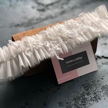 Свадебный салон ручной работы. Ярмарка Мастеров - ручная работа Свадебная подвязка «Есения». Handmade.