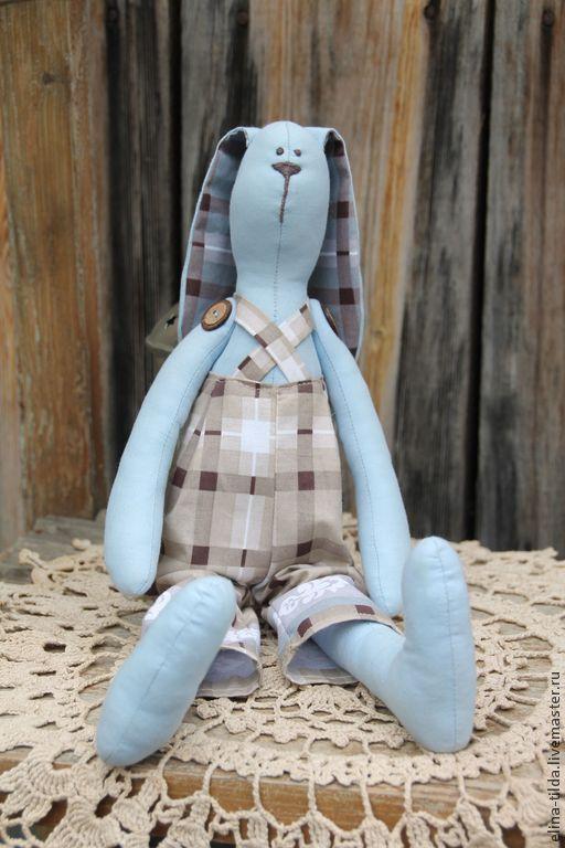 Куклы Тильды ручной работы. Ярмарка Мастеров - ручная работа. Купить Клетчатый зайка. Handmade. Голубой, тильда заяц