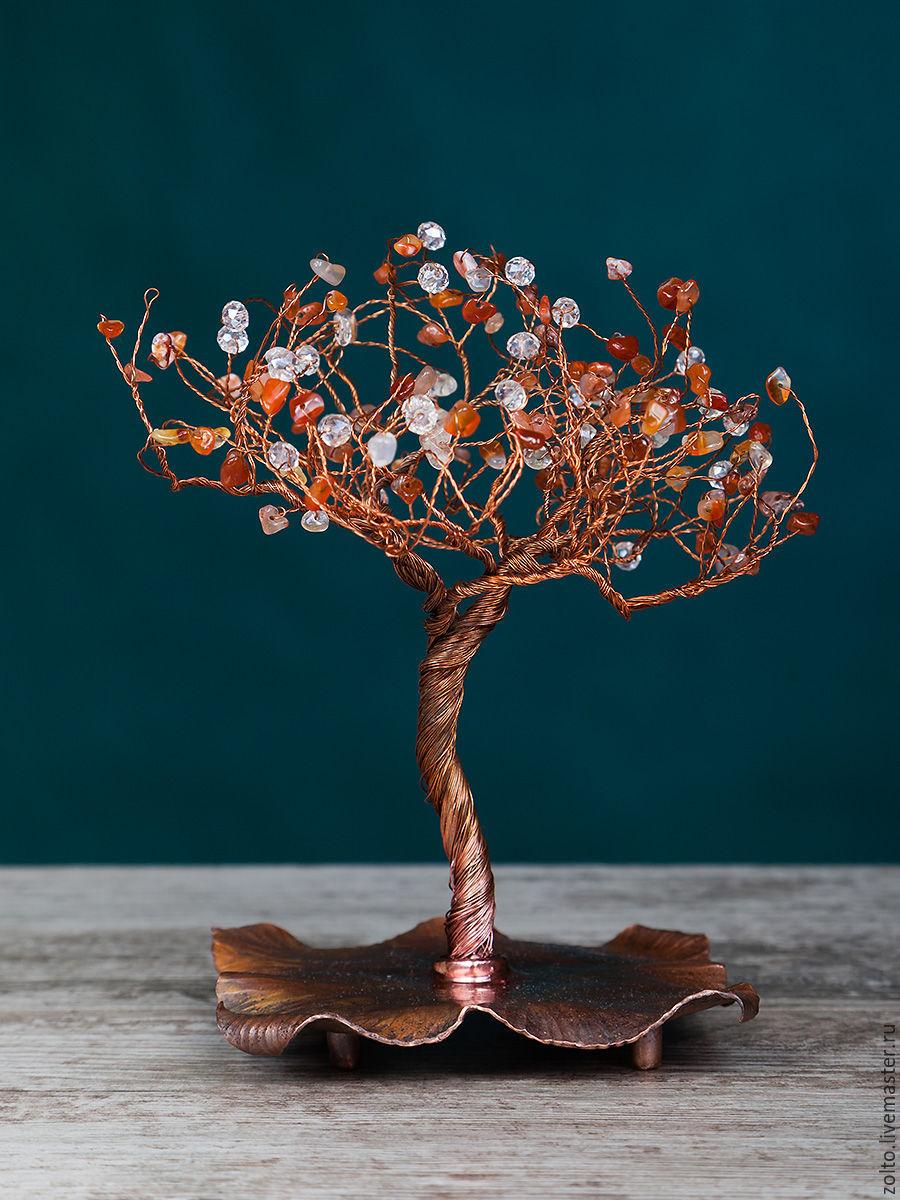 `Солнечная осень`, медное дерево счастья из бусин и агата