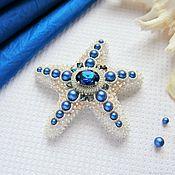 Украшения handmade. Livemaster - original item Brooch-pin: Starfish color Royal blue with white. Handmade.