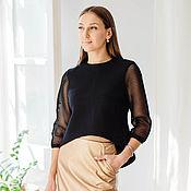 Одежда handmade. Livemaster - original item Black crop sweatshirt with mesh sleeves.. Handmade.