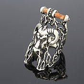 Украшения handmade. Livemaster - original item Aries men`s ring with a leather insert made of 925 silver (VIDEO) HB0020. Handmade.