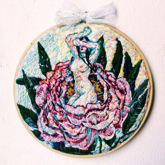 Символизм ручной работы. Ярмарка Мастеров - ручная работа. Купить Вышивка-панно. Handmade. Пион, вышитые цветы, цветы, женственность