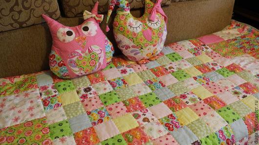 Детская ручной работы. Ярмарка Мастеров - ручная работа. Купить Лоскутное одеяло и подушки совы. Handmade. Бледно-розовый, фланель