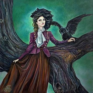 Картины и панно ручной работы. Ярмарка Мастеров - ручная работа Картина маслом Лесная фея - девушка, птица, таинственный лес, сумрак. Handmade.