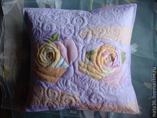"""Текстиль, ковры ручной работы. Ярмарка Мастеров - ручная работа. Купить Лоскутная наволочка на  подушку """" Утренние розы"""". Handmade."""