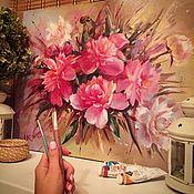 Картины и панно ручной работы. Ярмарка Мастеров - ручная работа Пионы маслом. Handmade.