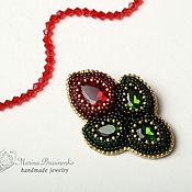 Украшения handmade. Livemaster - original item Brooch beaded Flower embroidery red green. Handmade.