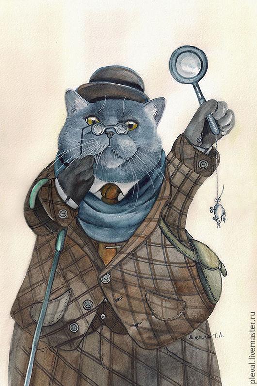 Животные ручной работы. Ярмарка Мастеров - ручная работа. Купить Картина акварелью с котом Ватсон Котс, Шерлок Холмс. Handmade.