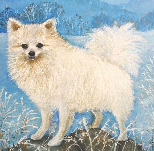 """Животные ручной работы. Ярмарка Мастеров - ручная работа. Купить Картина """"Снежинка"""" Зимняя прогулка Белый шпиц 40 на 40 см. Handmade."""