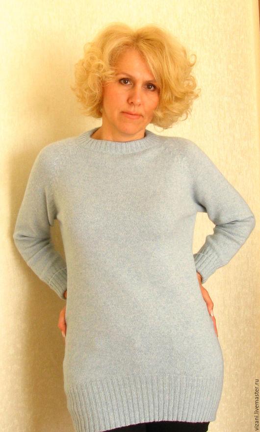 Кофты и свитера ручной работы. Ярмарка Мастеров - ручная работа. Купить Джемпер из итальянского мериноса с ангорой. Handmade. Голубой
